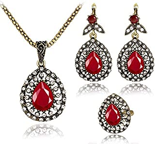 White Rhinestones Red Resin Necklace Earrings Ring Gold Plated Jewelry Set