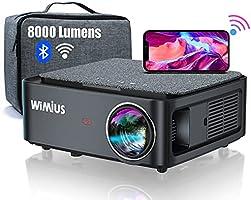 Vidéoprojecteur WiFi Bluetooth Full HD 1080P, 8000 Lumens WiMiUS Rétroprojecteur 1080P Supporte 4K Réglage 4D Fonction...