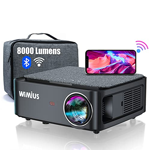 Proyector WiFi Bluetooth Full HD 1080P, 8000 Lúmenes WiMiUS Proyector WiFi Bluetooth 1080P Nativo Soporte 4K Ajuste Digital 4D Función de Zoom Proyector WiFi Cine en Casa para PPT,PS4,TV Stick,etc.