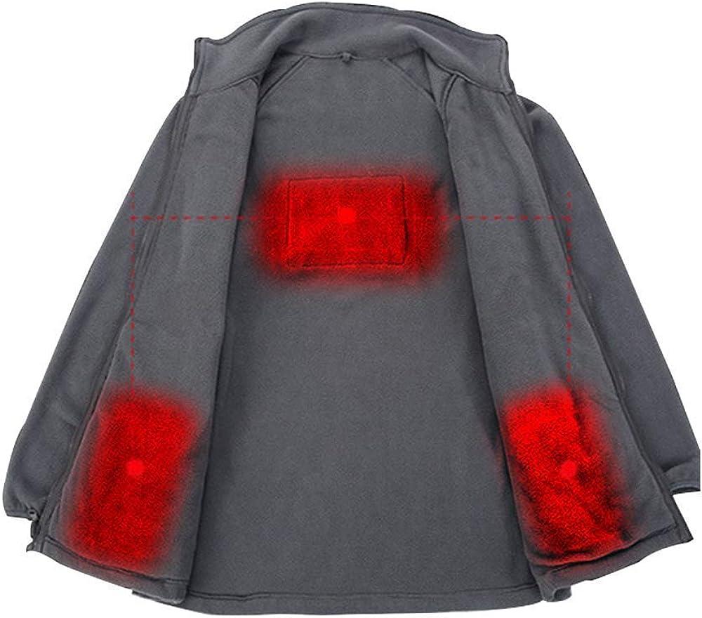 DressTime Men's Intelligent USB Heated Fleece Jacket Electric Heating Warm Liner