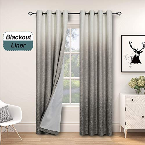 """Central Park Ombre 85% Blackout Room Darkening Window Curtains for Bedroom Drapes Heavy Linen Texture 8 Grommets Top Gradient Print Cream White to Gray Curtain for Living Room 50"""" x 84"""", 1 Piece"""