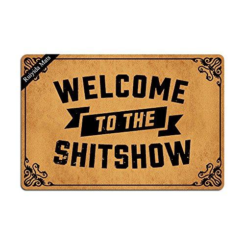 Ruiyida Welcome to The Shitshow Entrance Floor Mat Funny Doormat Door Mat Decorative Indoor Doormat Non-Woven 23.6 by 15.7 Inch Machine Washable Fabric Top