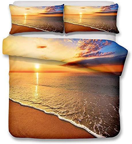Bedding Set 3D Ocean Beach Wave Coconut Tree Sunset Romantic Scenery Design Pattern Multicolor Bedroom