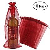 HUADE 10 Stück durchsichtige Organza-Weinbeutel, wiederverwendbar, einfache Flaschenverpackung, Festliche Verpackung, Babyparty, Hochzeitsgeschenke, Proben mit Kordelzug