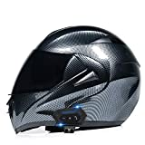 MTTKTTBD Bluetooth Modulable Casque Moto,Anti-Fog Double Visière Casques Moto Intégral Homme et Femme pour Locomotive Cruiser Moped Racing Mofa Pilote Vespa ECE Homologué