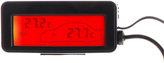 JENOR Mini Digital Coche Pantalla LCD Interior Exterior Termómetro 12V Vehículos 1.5m Cable Sensor