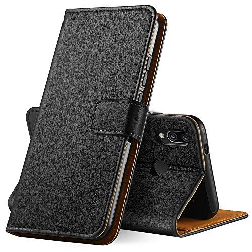 Anjoo Hülle Kompatibel für Huawei P20 Lite, Handyhülle Tasche Premium Leder Flip Wallet Case Kompatibel für Huawei P20 lite [Standfunktion/Kartenfächern/Magnetic Closure Snap], Schwarz