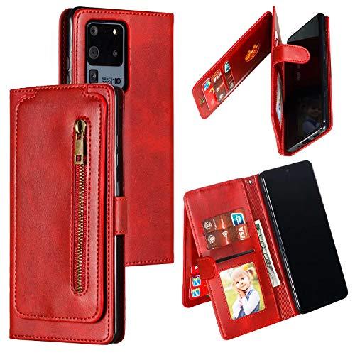 Nadoli Reißverschluss Brieftasche für Samsung Galaxy S20 Ultra,9 Kartenfächer Entwurf Prämie Pu Leder Magnetisch Trageschlaufe Geldbörse Handyhülle Schutzhülle Etui mit Ständer