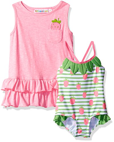 Wippette Baby Girls' Strawberry Swim and Cover up Set, Sugar Plum, 24M