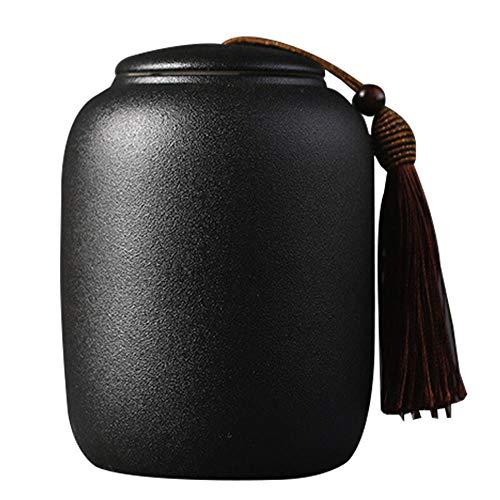 Teedose aus Keramik, Vintage-Stil, chinesischer Stil, Vorratsgläser, Teedosen, schwarze Dosen, traditionelle Teedose, versiegelte Deckel, für Zuhause, Küche, Esszimmer, Dekoration (14,5 x 9,5 cm)