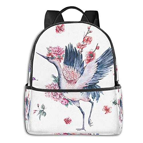 Watercolor Asian Red Crown Bird Blooming Branches Of Cherry Blossom Tree And Peonies mochila para niñas,adolescentes y mujeres,muy linda,para el hombro,pequeña bolsa para la escuela,viajes