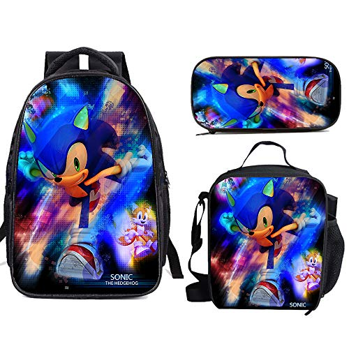 Son-ic The He-dge-hog Anime School Backpack Set Bookbag with Lunch Bags Pencil Case Lightweight Travel for Kids Boys Girls