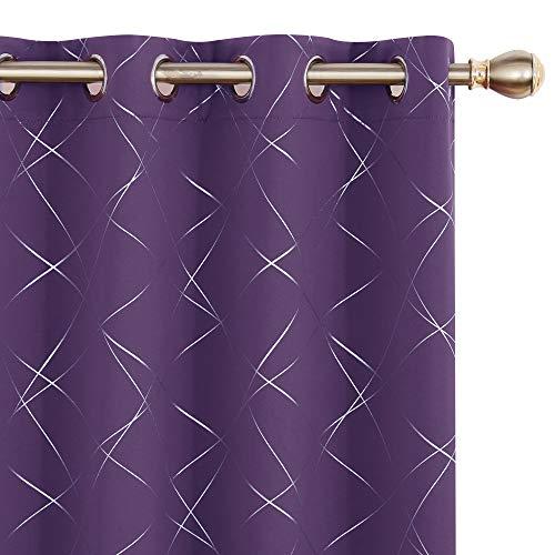 UMI. by Amazon Cortinas Opacas con Aislamiento Térmico para Salón Oficina Hotel Decorativas con Ojales 2 Piezas 168x183cm Púrpura Oscuro