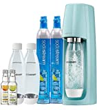 SodaStream Fizzi Sparkling Water Maker Bundle (Icy Blue), with CO2, BPA free Bottles, and 0 Calorie Fruit Drops Flavors