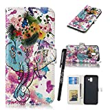 Samsung J6 Plus Bookstyle Case,Tifightgo Colorful Polished Embossed FILP PU Leather Cover Silicone Shell Wallet Case for Samsung Galaxy J6 Plus with Card Slots/Stand Function/Magnetic Buckle