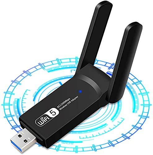Adaptador de red WiFi, adaptador WiFi USB de 1200 Mbps para PC, doble banda de 5,8 GHz/2,4 GHz, adaptador de Internet inalámbrico USB 3.0 802.11AC, compatible con Mac OS 10.15 Windows 10/8.1/8/7/XP