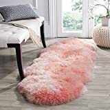 Safavieh Sheep Skin Collection SHS121L Handmade Rustic Glam Genuine Pelt 3.4-inch Extra Thick Runner, 2' x 6' , Solid Pink