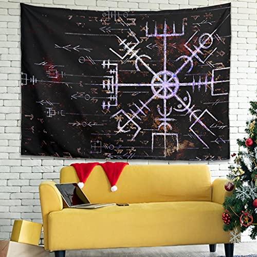 Magiböes Tapiz de pared vikingo Vegvisir con brújula escandinava y estampado tradicional blanco 150 x 130 cm