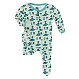 Kickee Pants Little Boys Print Footie with Snaps - Aloe Aliens with Flying Saucers, 3-6 Months