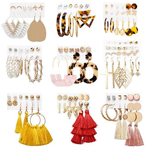 Earrings Set for Women Girls, Funtopia 61 Pairs Fashion Tassel Earrings Acrylic Hoop Stud Drop...