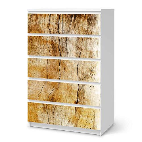creatisto Klebe-Folie Möbel passend für IKEA Malm Kommode 6 Schubladen (hoch) I Möbelfolie - Möbel-Folie Tattoo Sticker I Schöner Wohnen für Schlafzimmer und Wohnzimmer - Design: Unterholz