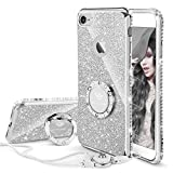 Cute iPhone 6s Case, Cute iPhone 6 Case, Glitter Luxury Bling Diamond Rhinestone Bumper with Ring Grip Kickstand Protective Thin Girly iPhone 6s Case/iPhone 6 Case for Women Girl - Silver