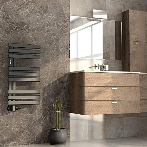 Mert ASK Design Heizung Paneelheizkörper gerade Warmwasser und Fernwärme 1/2 Zoll Badheizung 800x400 Badheizkörper Anschluss 50 mm schwarz Heizkörper
