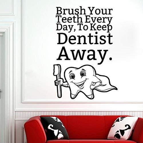 Cita de cuidado dental Etiqueta de la pared Cepillo de dientes Etiqueta de la pared Decoración del baño Mantener alejado Dentista Vinilo Mural de pared Cita de los dientes Calcomanías 43x30cm