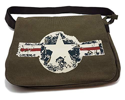 Vintage Canvas Military Academic Bag für US-Army Fans Oliv