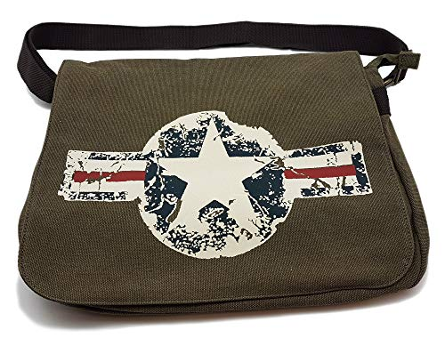 Vintage Canvas Military Academic Bag für US-Army Fans Oliv