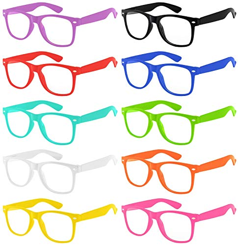 Wholesale 10 Pack Classic Vintage Clear Lens Sunglasses Colored Frame