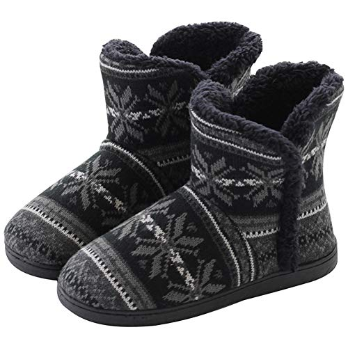 DimaiGlobal Ladies Bootie Slippers Mens Womens Winter Ankle Boots Indoor Outdoor House Shoes Cotton Fleece Lined Warm Knitted Boots Anti-Slip