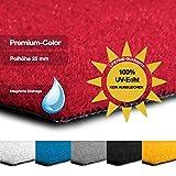 casa pura Kunstrasen Premium Color • Weicher Flor 25 mm • UV-beständig > 6000 h & wasserdurchlässig • Rasenteppich Meterware • Teppichrasen für Balkon, Terrasse, Deko (rot, 200x400 cm) - 3
