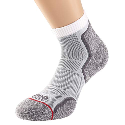 1000 Mile Herren Running Anklet Socken – Doppelpack, weiß/grau, L