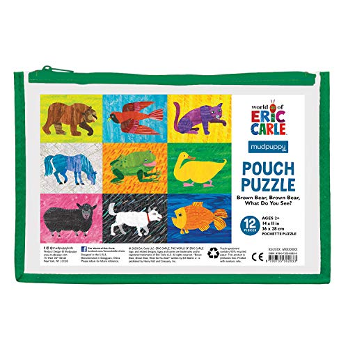 """Mudpuppy World of Eric Carle Brown Bear, Brown Bear What Do You See? Pouch Puzzle, 12 Pieces, 14"""" x 11"""" – Great for Kids Age 2-4 – Perfect for Travel – Packaged in Secure, Reusable Pouch"""