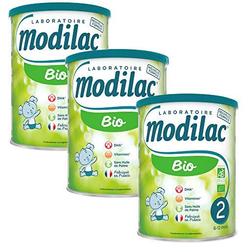 Laboratoire Modilac - Lait Infantile en Poudre Bio 2ème âge - 6-12 mois - 800g - Lot de 3