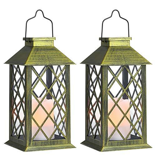 Tomshine Solar Exterior Lámpara con Vela,Luz LED Solar faroles jardin exteri,Lámpara Solar Jardín Luz de Linterna de Decoración Luces Decorativas para Jardin[Clase de eficiencia energética A]