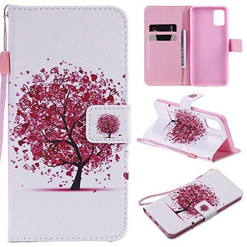 Miagon Flip PU Leder Schutzhülle für Samsung Galaxy S20,Bunt Muster Hülle Brieftasche Case Cover Ständer mit Kartenfächer Trageschlaufe,Rot Baum