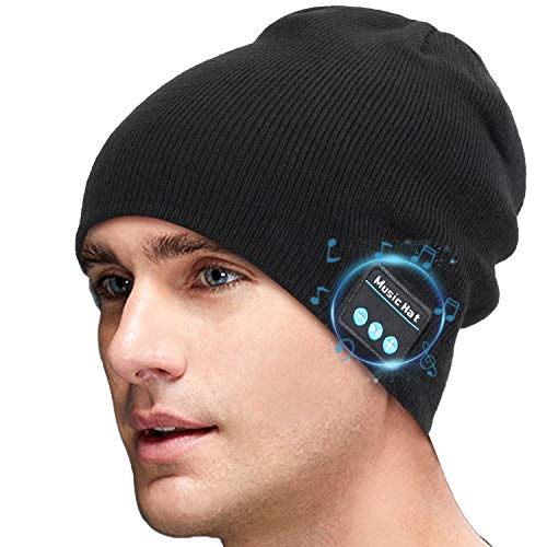 Miserwe Wireless Beanie Hat V5.0 Unisex Wireless Hat Headphones Winter Outdoor Sport Knit Cap with Wireless Stereo Headphone Headset Mic Hands Free Compatible with iPhone Android (Black)