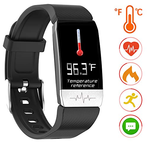 Fitness Tracker Activity Tracker Smart Bracelet with Temperature Measuring Heart Rate Blood Pressure Blood Oxygen Monitor Pedometer Sleep Monitor Digital Smart Watch Waterproof for Kids Women Men