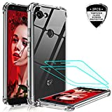 Pixel 3a Case, LeYi Google Pixel 3a Case with Tempered Glass Screen Protector, Shockproof Crystal Clear Hard PC Bumper Slim Protective Phone Cover Cases for Google Pixel 3a 2019 (Not Fit Pixel 3a XL)
