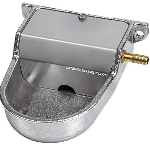 Abreuvoir en aluminium pour petits chiens. Utilisé à basse pression ou sortie de réservoir d'eau. Abreuvoir animaux gris 12 x 16 x 6 cm.