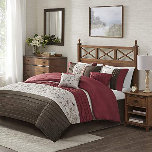 Madison Park Serene Queen Size Bed Comforter Set Bed in A Bag - Red, Embroidered – 7 Pieces Bedding Sets – Faux Silk Bedroom Comforters