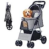 poussette de chat pour chien avec panier de rangement Poussette de jogging pour chariot de transport de chien léger et pliable pour animaux (02Gris)