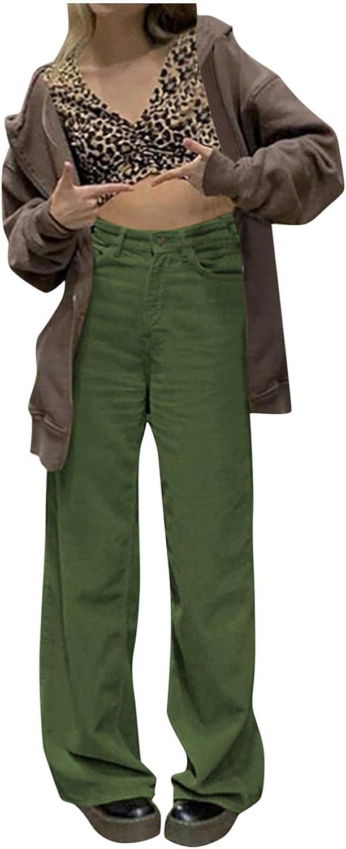 FUNEY Women's Fashion Y2K Baggy Corduroy Wide Leg Pants Vintage High Waist Mopping Drape Plus Size Casual Streetwear