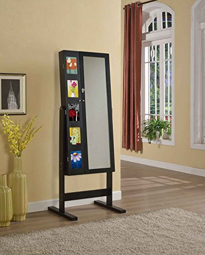 Artiva USA Free-Standing Cheval Mirror and Jewelry Armoire Double Door Display Stand with Photo Frame and Key Lock, 62.5', Royal Black