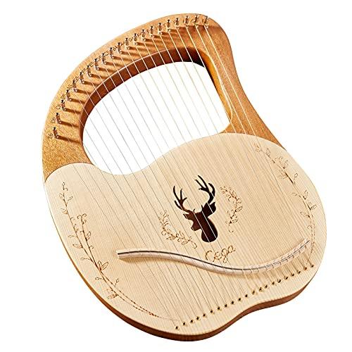 summina 21 cuerdas de metal lira arpa caja lira arpa abeto, tablero de caoba, tablero de madera de caoba, instrumento de cuerda con llave de afinación, púas de música nota pegatina