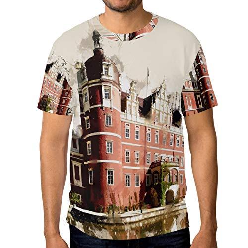 DEZIRO Duitsland kasteel patroon mannen werkkleding T-Shirt korte mouwen