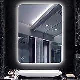 20W, Espejo baño, espejo baño con luz, Blanco frío + interruptor táctil + función antivaho
