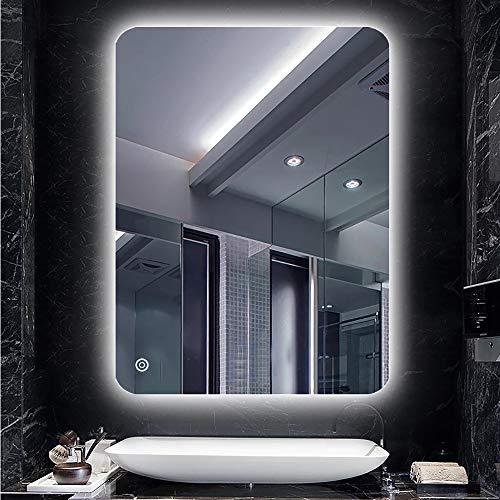 Turefans badspiegel mit Beleuchtung, badezimmerspiegel, Kaltweiß (6400K), wasserdicht, Berührungsschalter, 50 * 70 cm